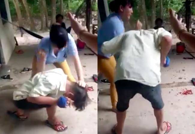 Chồng bị vợ đánh, chồng cúi đầu chịu trận