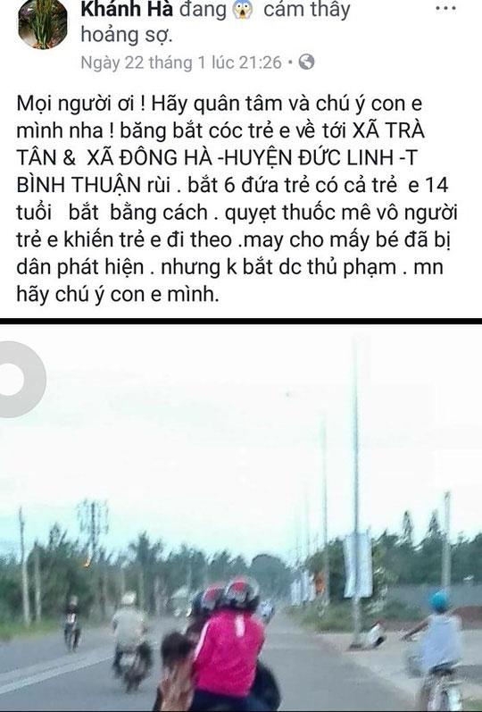 xac nhan thong tin co 6 trẻ bị bắt cóc