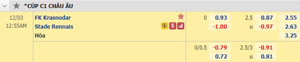 Kèo bóng đá giữa Krasnodar vs Rennes