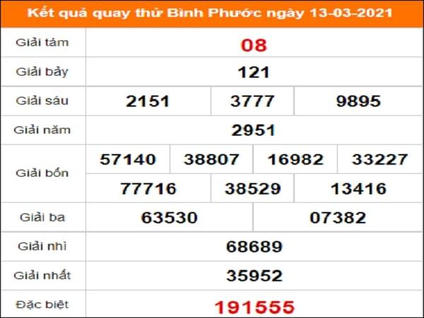 Quay thử kết quả xổ số tỉnh Bình Phước ngày 13/3/2021